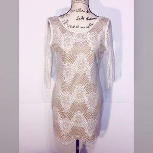 LuLu's Shift Midi Dress 3/4 Sleeve Lined Floral